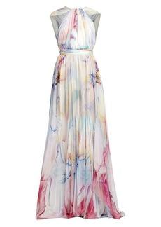 Zuhair Murad Sorolla Floral Cape Gown