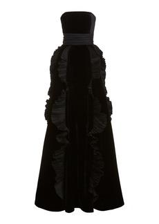 Zuhair Murad Strapless Ruffle-Trimmed Velvet Gown