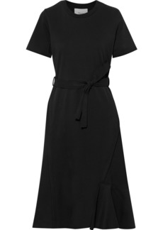 3.1 Phillip Lim Woman Belted Cotton-jersey And Wool-twill Midi Dress Black