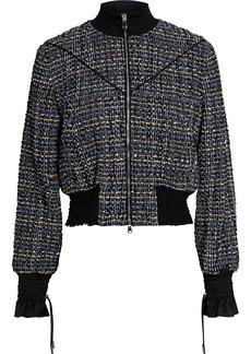 3.1 Phillip Lim Woman Cropped Bouclé-tweed Track Jacket Black