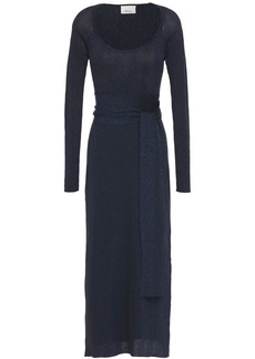 3.1 Phillip Lim Woman Belted Metallic Ribbed-knit Midi Dress Navy