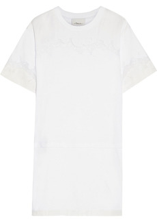 3.1 Phillip Lim Woman Satin And Chantilly Lace-trimmed Cotton-jersey Mini Dress White