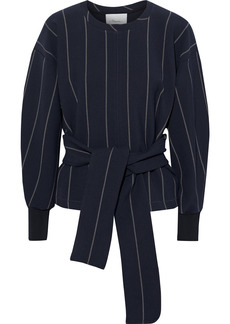 3.1 Phillip Lim Woman Tie-front Striped Stretch-twill Top Navy