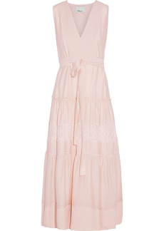 3.1 Phillip Lim Woman Tiered Belted Lace-trimmed Hammered-silk Midi Dress Pastel Pink