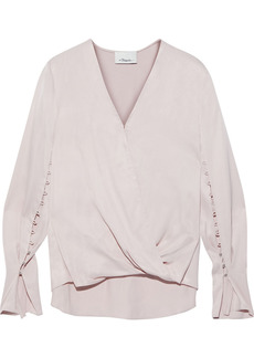 3.1 Phillip Lim Woman Wrap-effect Button-detailed Satin Blouse Pastel Pink