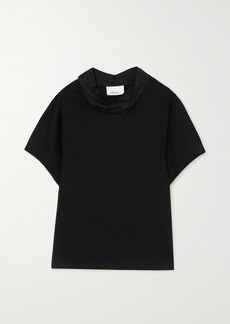 3.1 Phillip Lim Draped Hammered Satin-trimmed Cotton-jersey T-shirt