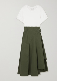 3.1 Phillip Lim Space For Giants Belted Pleated Organic Cotton-jersey And Twill Midi Dress