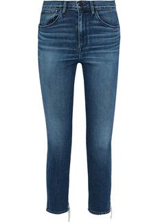 3x1 Woman W3 Distressed High-rise Slim-leg Jeans Mid Denim
