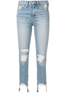 3x1 frayed trim cropped jeans