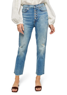 7 For All Mankind® Distressed High Waist Exposed Button Fly Crop Jeans (Aquarius)
