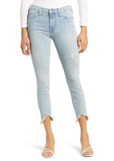 7 For All Mankind® Wavy Frayed Hem Ankle Skinny Jeans (Light Winona)