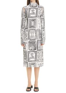 Acne Studios Darinka Frames Print Long Sleeve Crepon Dress