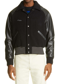Acne Studios Leather Sleeve Wool Blend Bomber Jacket