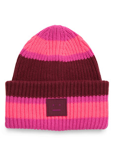 Acne Studios Pansy Face Patch Stripe Wool Beanie
