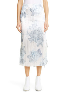Acne Studios Shiny Floral Print Midi Skirt