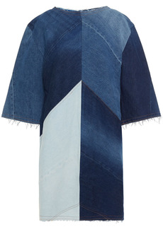 Acne Studios Woman Frayed Paneled Denim Mini Dress Mid Denim