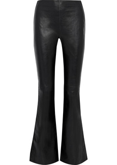 Acne Studios Woman Paneled Leather And Ribbed Knit Flared Pants Black
