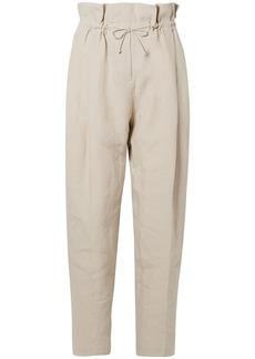 Acne Studios Woman Paoli Gathered Linen Tapered Pants Ecru