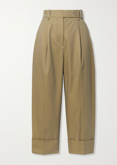 Acne Studios Cropped Belted Pleated Cotton-twill Wide-leg Pants