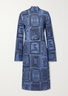 Acne Studios Cutout Printed Crepon Midi Dress