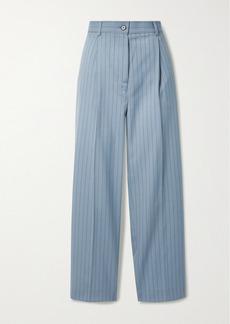 Acne Studios Pleated Pinstriped Wool Straight-leg Pants