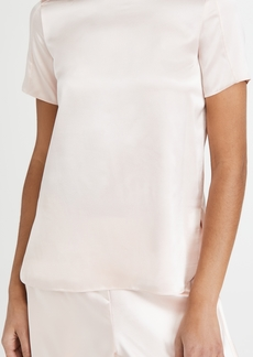 Adam Lippes Crew Neck T-Shirt In Silk Satin