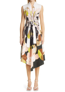 Adam Lippes Floral Asymmetrical Poplin Dress