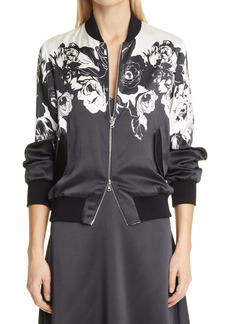 Adam Lippes Floral Charmeuse Bomber Jacket