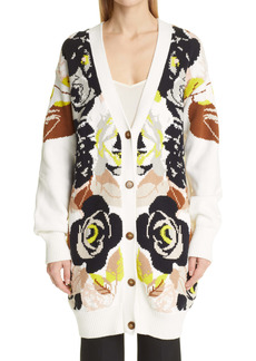 Adam Lippes Floral Chunky Knit Cotton Long Cardigan