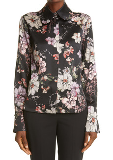 Adam Lippes Floral High/Low Silk Blouse