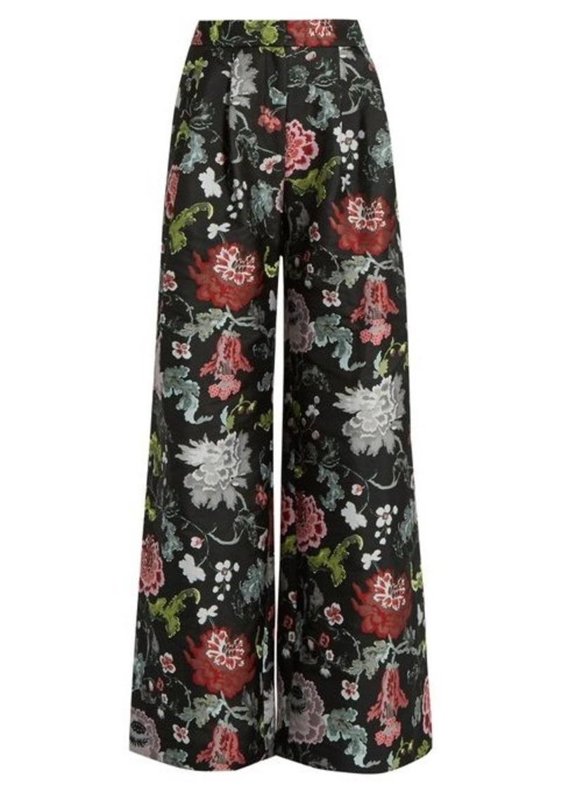 Adam Lippes Floral-jacquard wide-leg trousers