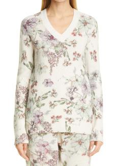 Adam Lippes Floral Print Cashmere & Silk Sweater