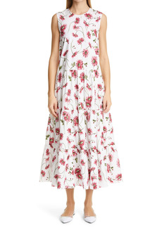 Adam Lippes Floral Print Cotton Poplin Maxi Dress