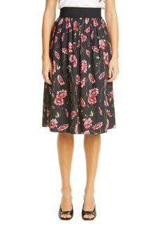 Adam Lippes Floral Print Elastic Waist Poplin Midi Skirt