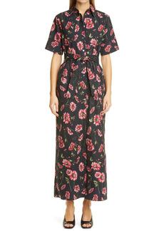 Adam Lippes Floral Print Poplin Maxi Shirtdress