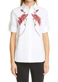 Adam Lippes Floral Print Stretch Poplin Shirt