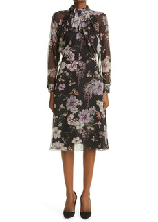 Adam Lippes Floral Print Twist Neck Long Sleeve Chiffon Dress