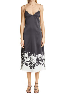 Adam Lippes Floral Silk Charmeuse Dress