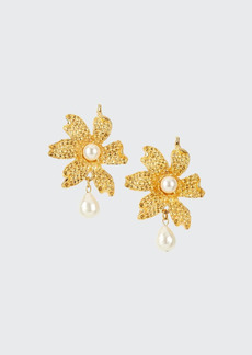 Adam Lippes Flower and Pearly Drop Earrings