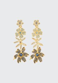 Adam Lippes Four Flower Drop Earrings  Yellow/Blue