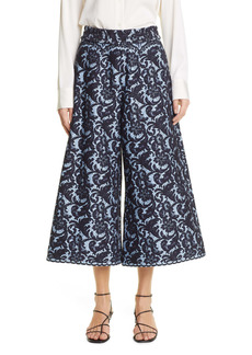 Adam Lippes Lace High Waist Wide Leg Crop Pants