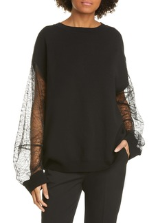 Adam Lippes Lace Sleeve Merino Wool Blend Sweater