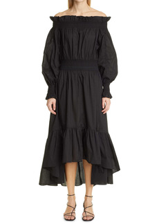 Adam Lippes Off the Shoulder High/Low Long Sleeve Dress
