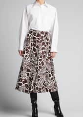 Adam Lippes Printed Front Pleated Silk Twill Culottes