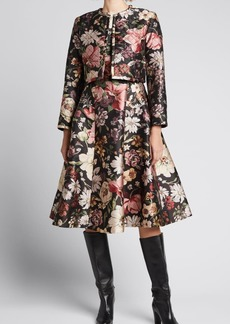 Adam Lippes Quilted Floral Jacquard Cropped Jacket