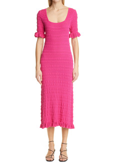 Adam Lippes Rib Ruffle Midi Dress
