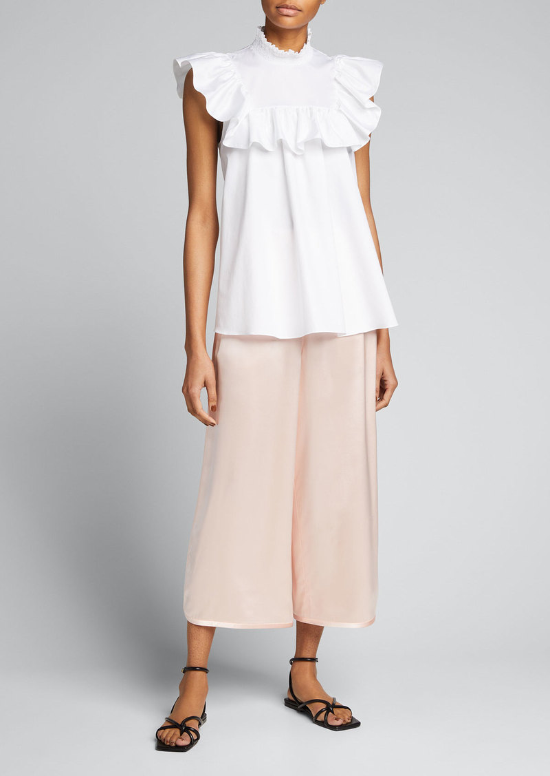 Adam Lippes Silk Cropped Track Pants
