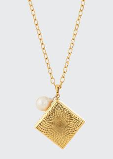 Adam Lippes Square Pill Box and Pearl Necklace