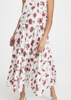 Adam Lippes Tiered Maxi Dress In Printed Poplin
