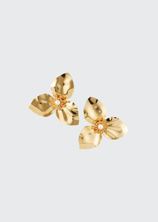 Adam Lippes Trillium Flower Earrings with Pearls  Gold